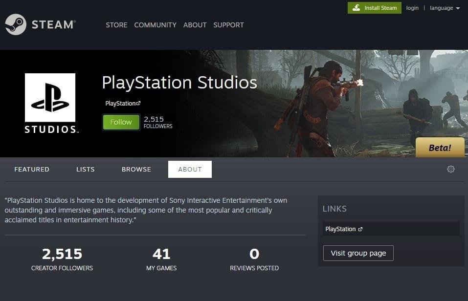 PlayStation Studios en Steam
